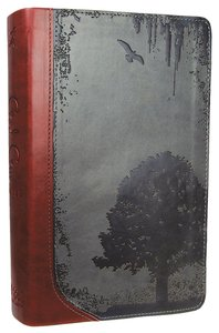 Gods Word God Guy Bible Charcoal/Burgundy Grunge Tree Design Duravella