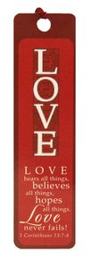 Bookmark With Tassel: Love (Silver Foiled)