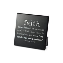 Simple Faith Plaque: Faith, Matthew 19:26 (Black/white)