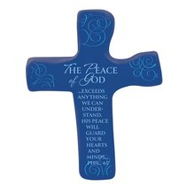 Squeezable Palm Cross: The Peace of God (Blue)