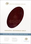 ESV Personal Reference Trutone Brown Engraved Cross Design