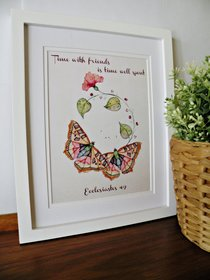 Small Framed Print: Two Butterflies - Time With Friends Ecclesiastes 4:9