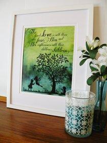 Medium Framed Print: Children Playing Swing Tree - the Lords Love Psalm 103:17