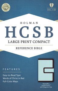 HCSB Large Print Compact Bible Brown/Blue With Magnetic Flap