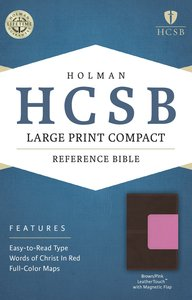 HCSB Large Print Compact Bible Brown/Pink With Magnetic Flap