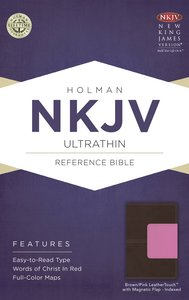 NKJV Ultrathin Reference Indexed Bible Brown/Pink With Magnetic Flap