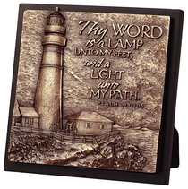 Moment of Faith Sculpture Plaque: Lighthouse on Cliff (Square)