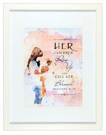 Medium Framed Print: Watercolour Mum and Child, Her Children, Proverbs 31:28