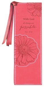 Bookmark: With God All Things Are Possible Luxleather Pink
