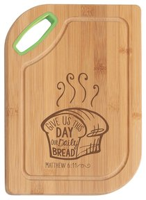 Hardwood Bamboo Cutting Board: Give Us This Day, Matthew 6:11