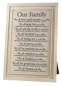 Our Family Plaque: Various Scriptures