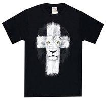 T-Shirt Lion Cross: Fear Not, Black Large