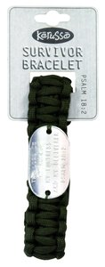 Paracord Bracelet: The Lord is My Rock Psalm 18:2, Olive