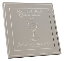 First Communion Plaque: Silver Satin Metal With Raised Symbol