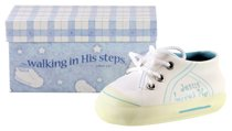 Ceramic Baby Shoe For Boys: Jesus Loves Me, Blue
