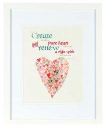 Medium Framed Print: Watercolour Heart, Create in Me, Psalm 51:10