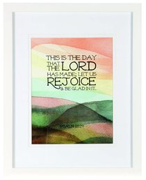 Medium Framed Print: Watercolour Hills, This is the Day, Psalm 118:24