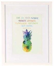 Medium Framed Print: Watercolour Pineapple, Fruits of the Spirit, Galatians 5:22-23