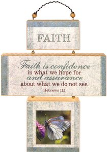 Cross Shaped Three Piece Mdf Wall Plaque: Faith, Hebrews 11:1 (Crosswords)