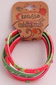 Bracelets: He Loves Me Stretch Bangles Green (3 Pack)