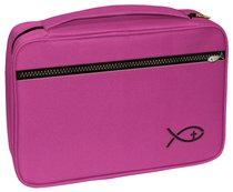 Bible Cover Deluxe With Fish Symbol: Fuchsia Xlarge