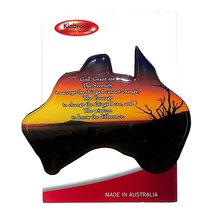 Christian Australia Map Shaped Resin Fridge Magnet: Tree/Sunset/Plain