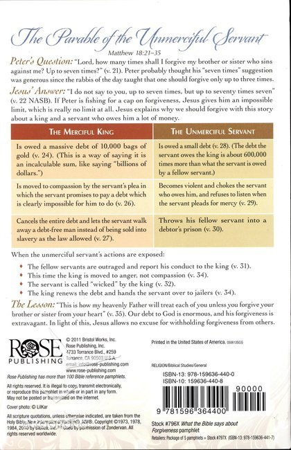 What the Bible Says About Forgiveness (Rose Guide Series)