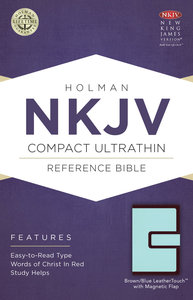NKJV Compact Ultrathin Reference Bible With Magnetic Flap, Brown/Blue Leathertouch