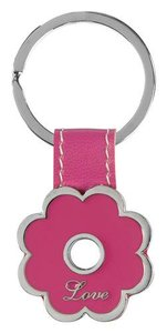 Metal Keyring: Love, Pink Flower