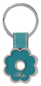 Metal Keyring: Hope, Turquoise Flower
