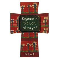 Small Wooden Cross Magnet: Rejoice in the Lord