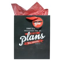 Gift Bag Large: Your Plans Will Succeed (Incl Tissue Paper & Gift Tag)
