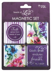 Magnetic Set of 4: Seeds of Love (Purple/flowers)