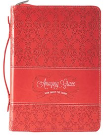 Bible Cover Amazing Grace Coral Large Fashion Debossed Luxleather