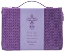 Bible Cover Fashion Large: John 3:16 Purple Debossed Luxleather