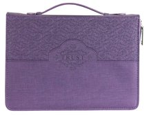 Bible Cover Trust Psalms 46:10 Purple Large Fashion Debossed Luxleather