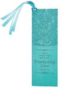 Bookmark Luxleather Tassel: I Have Loved You With An Everlasting Love Turquoise