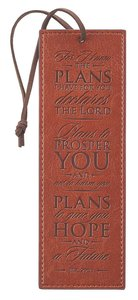 Bookmark Luxleather Tassel: For I Know the Plans I Have For You Red