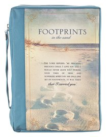 Bible Cover Value Large: Footprints Poly Canvas