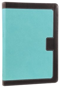 NKJV Giant Print Center-Column Reference Bible Turquoise/Espresso (Red Letter Edition)