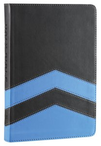 NLT Guys Slimline Bible Charcoal Blue Chevron (Red Letter Edition)
