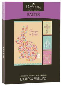 Easter Boxed Cards: Flower Bunny, Cross, Church & Butterfly