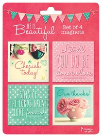 Magnetic Set of 4 Magnets: Life is Beautiful