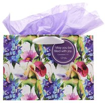 Gift Bag Large: Seeds of Love, May You Be Filled With You (Incl Tissue Paper & Gift Tag) (Purple/flowers)