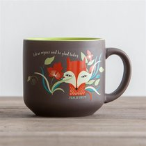 Jumbo Ceramic Mug: Let Us Rejoice (Psalm 118:24) (Beige/fox)