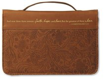 Bible Cover Faith, Hope, and Love Large Brown