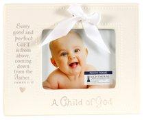 Ceramic Photo Frame: A Child of God, Cream With Bow (James 1:17)