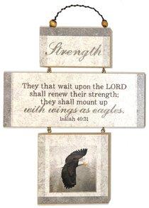 Cross Shaped Three Piece Mdf Wall Plaque: Strength, Isaiah 40:31 (Crosswords)