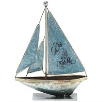 Sailboat Metal: With God All Things Are Possible.. Matthew 19:26 (Blue)