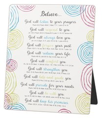 Word Study Plaque: Believe, Blue/Red/Yellow Swirls on White